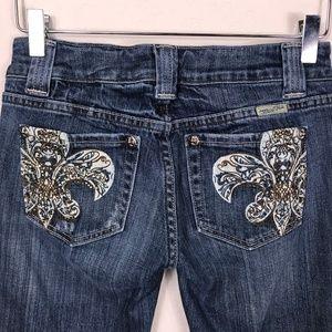 Miss Me Jeans Boot Cut Fleur De Lis  Sz 27